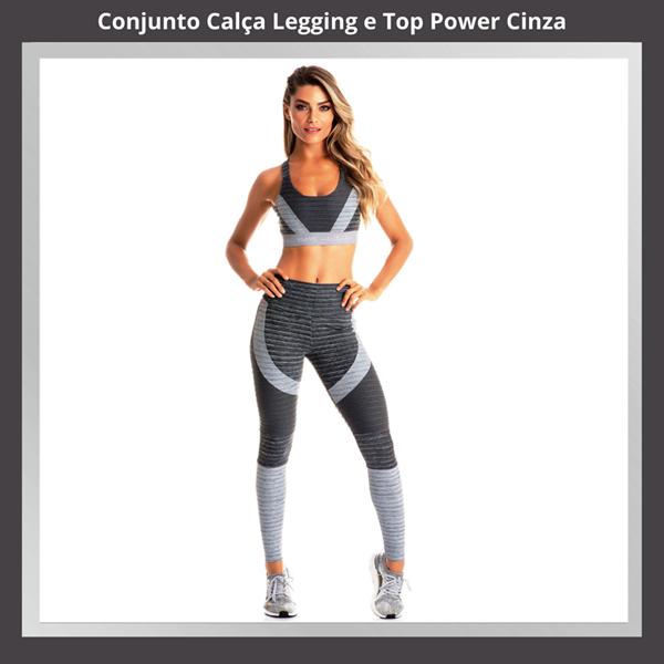 CONJUNTO  POWER  CALÇA LEGGING E TOP  CINZA