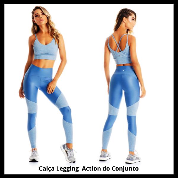 Conjunto Action Calça Legging + Short Saia