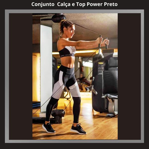 CONJUNTO  POWER  CALÇA LEGGING E TOP PRETO